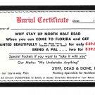 Humor Burial Certificate Get Planted in Florida Comic Postcard