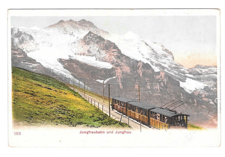 Switzerland Alps Jungfraubahn Jungfrau Train Vintage UDB Postcard