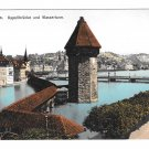 Switzerland Alps Luzern Kapellbrucke Wasserturm Vintage Postcard