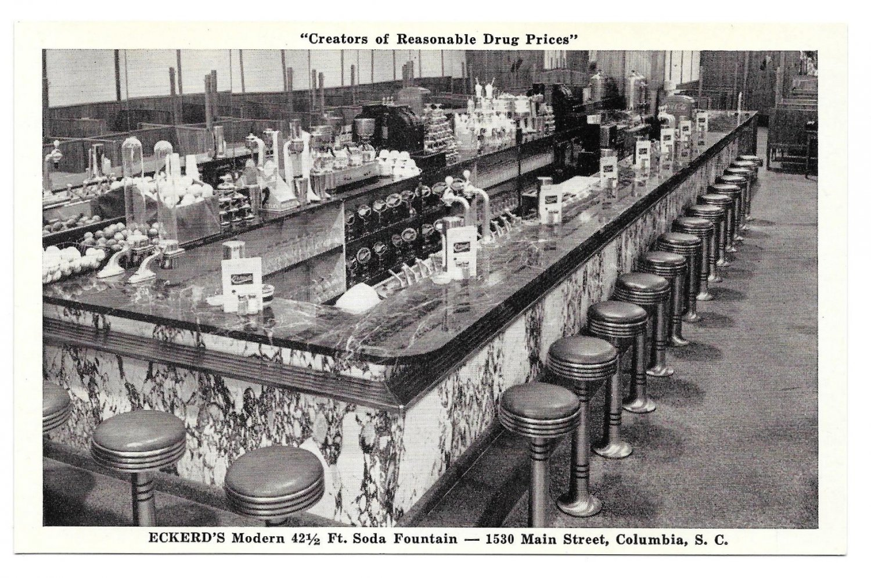 Eckerd 39 s drug store soda fountain columbia sc vintage postcard for Craft stores columbia sc