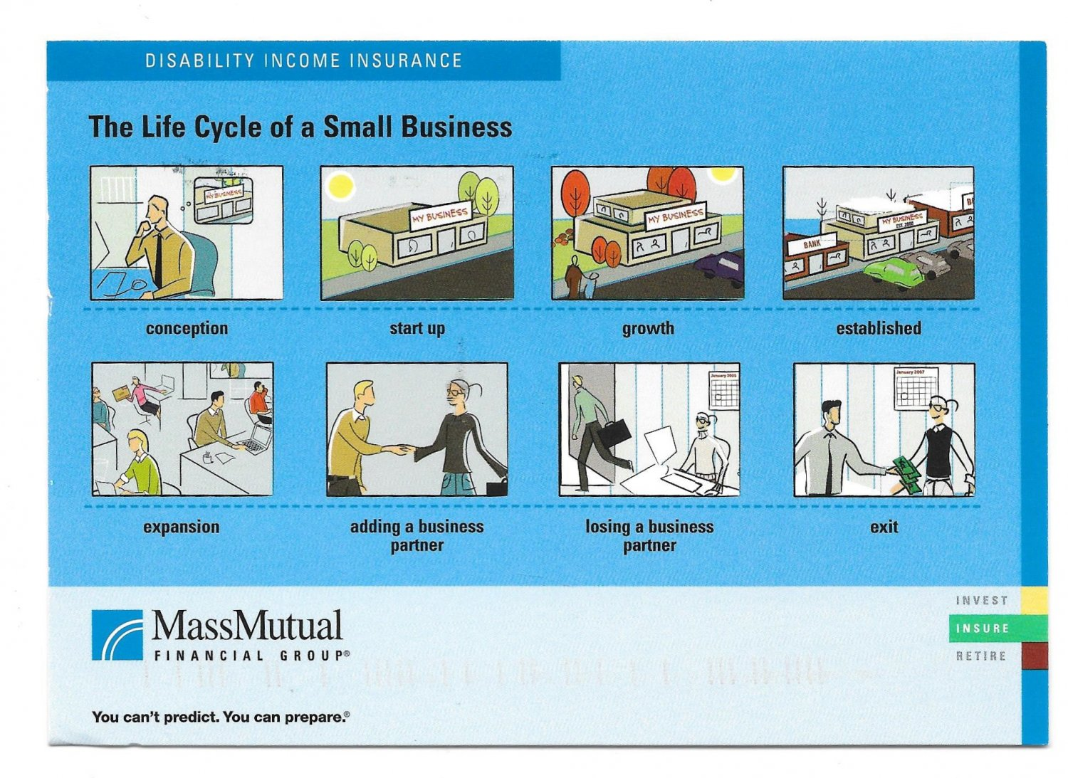 Insurance Advertising Postcard Mass Mutual Life cycle of a Small Business 4X6 AD