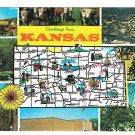 Greetings Kansas Map Multiview Landmarks Vintage Postcard
