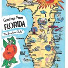 Florida Map Landmarks Cities Vintage FL Postcard