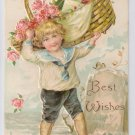 Best Wishes Embossed Boy w Basket of roses Champagne Bottle Postcard