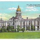 WY Cheyenne Capitol Building Linen Postcard 1942 Wyoming