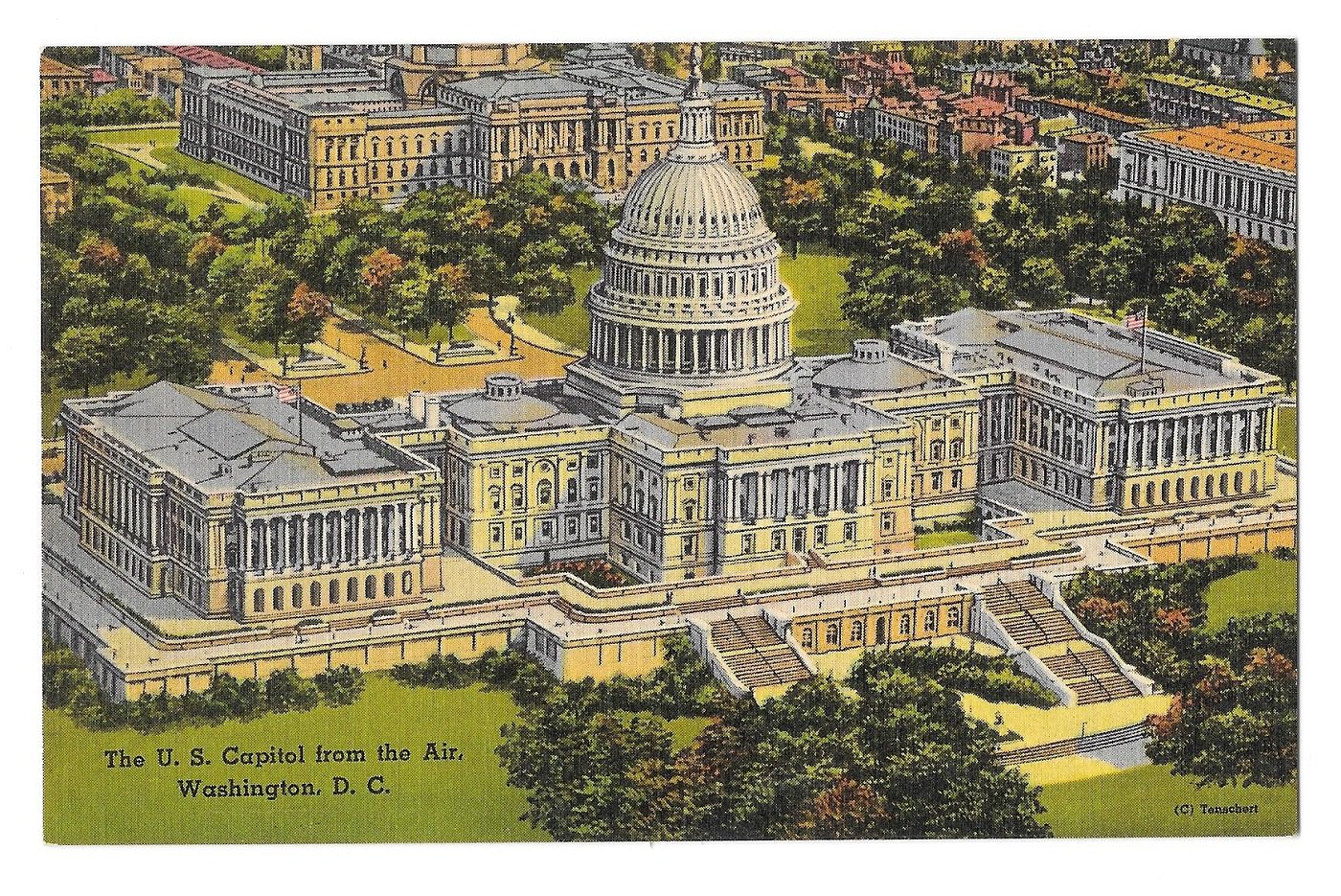 Washington DC Capitol Building United States Aerial View Linen Postcard