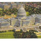 Washington DC Capitol Building United States Aerial View Linen Postcard