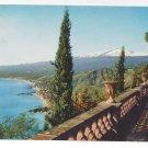 Italy Taormina Sicily Panorama View of Giardini Etna Postcard 4X6