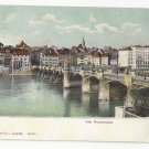 Switzerland Basel Alte Rheinbrucke Old Bridge Rhein River ca 1905