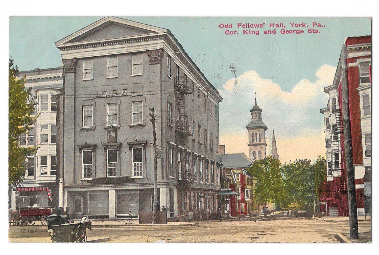 York PA Odd Fellows Hall IOOF King & George St Vintage 1914 Postcard