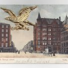 York PA South George Street Novelty Metal Gold Eagle Add-On Vintage Postcard