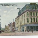 York PA N. George St Spahr Building Centre Square Telephone Poles Vtg Postcard