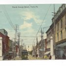 York PA North George Street Trolley Car Danger Run Slow Sign Vintage Postcard
