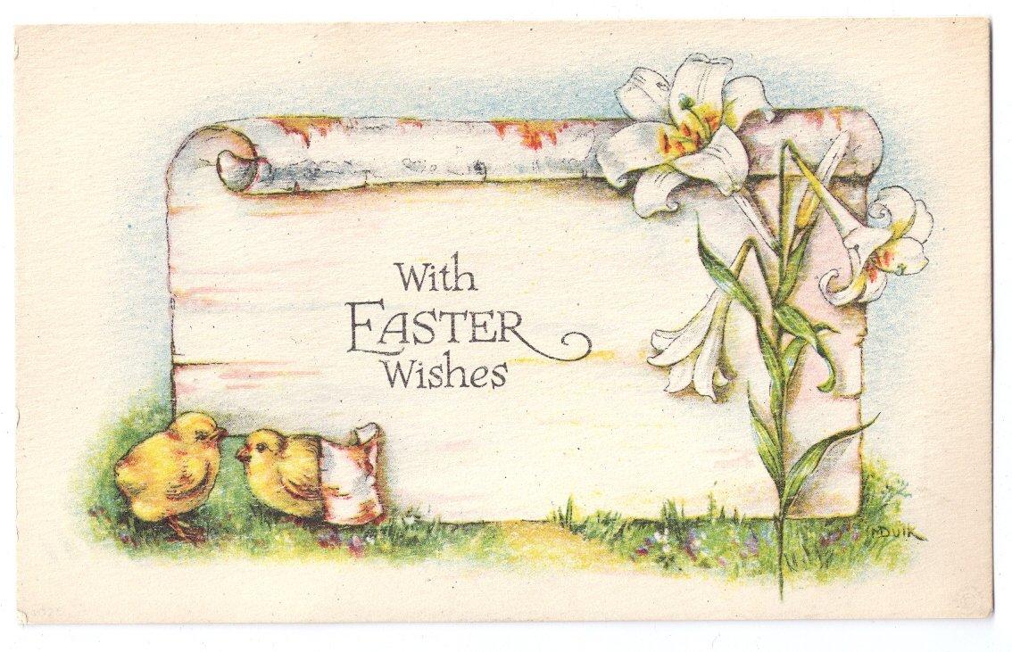 Vintage Easter Postcard Chicks Lilies Bergman Arts & Crafts A/S M Dulk