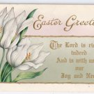 Vintage Easter Greetings Postcard White Tulips w Gold Embossed 1915 Whitney