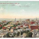 York PA Birds Eye from High School Vntg Postcard 1911