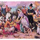 First Thanksgiving JLG Ferris Painting Early America Postcard 4X6