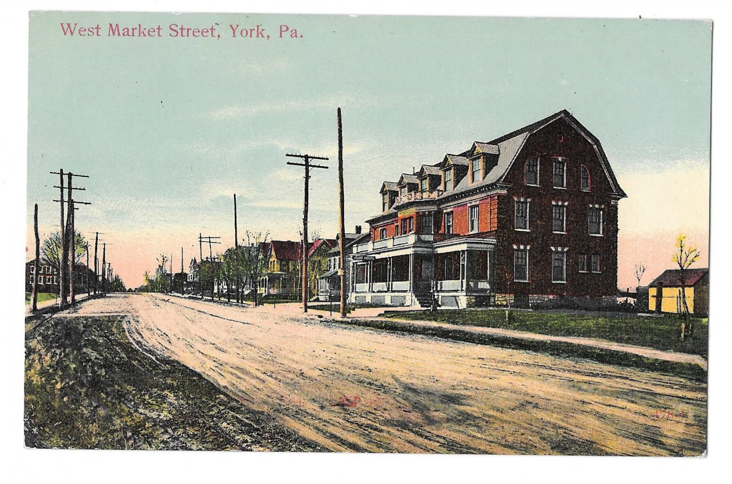 York PA West Market Street View Homes Vintage Postcard