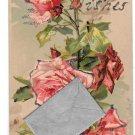 Best Wishes Note Envelope Add-On Roses Glitter Vntg Novelty Postcard