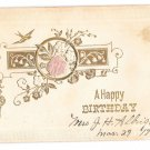 Happy Birthday Pink Silk Rose Bird Swallow Gold Embossing Vintage Postcard