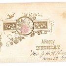 Happy Birthday Pink Silk Rose Bird Swallow Gold Embossing Vintage Postcard