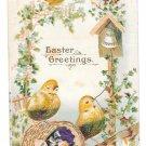 Easter Greetings Chicks Ringing Bell Small Silk Flower Vintage Postcard