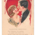 Valentine Greetings Couple Heart Coralene Glass Beads Ribbon Add-On Postcard
