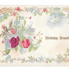 Birthday Greetings Red Silk rose and Dove Vintage Postcard