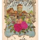 Birthday Greetings Silk Red Roses Glitter Vintage Embossed UDB Postcard