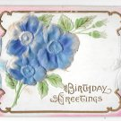 Birthday Greetings Air Brushed Silk Flowers Vintage Novelty Postcard