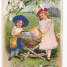 Easter Children Silk Dresses Hats Girls Eggs in Nest Vntg Novelty Postcard