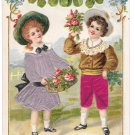 Heartiest Greetings Children Silk Dress Four Leaf Clover Shamrock Novelty Postcard