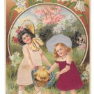 Easter Greetings Children Girls Chicks Silk Added Dresses Hats 1908 Novelty Postcard