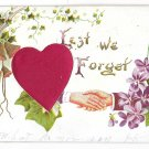 Red Silk Heart Lest We Forget Clasped Hands Vintage Embossed Novelty Postcard