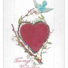 Valentine Applied Felt Heart Glitter Bluebird Add On Vintage Novelty Postcard