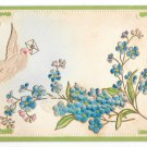 Greetings Silk Covered Flowers and Dove Add-On Vintage Novelty Postcard