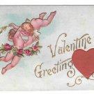 Valentine Greetings Silk Red Heart Cupid Cherubs Vintage Embossed Postcard