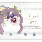 Birthday Wishes Ribbon Add-On Vintage Stecher Novelty Postcard