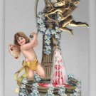 Valentine Greetings Cupid Gold Metal Add-On Embossed Cherub Vintage Postcard