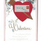 Valentine Heart w Envelope Add-On Poem Vintage Embossed Postcard