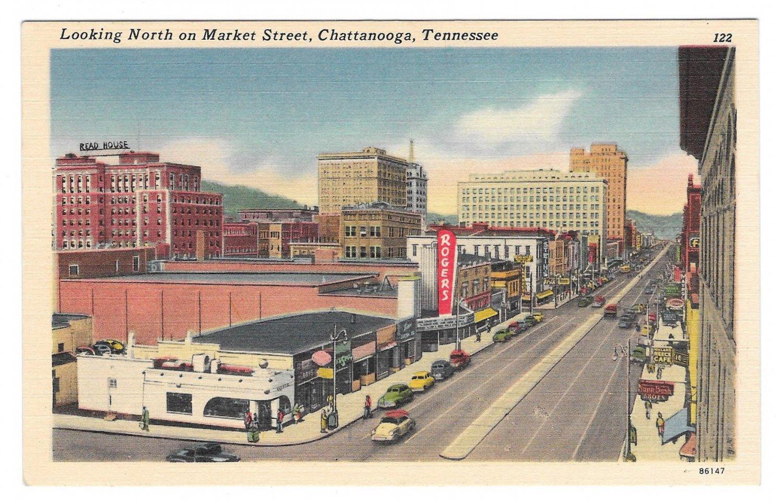 TN Chattanooga Tennesssee Market Street Looking North Vintage Linen Postcard