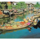 Thailand Bangkok Mahanak Boats The Floating Market Vintage 1967 Postcard