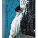 Hammamet Tunisia Fatma Devant sa Porte Beautiful Woman beside her door 4X6 Postcard