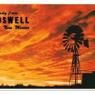 NM Roswell New Mexico Howdy Greetings Sunset Windmill Vntg Petley 4X6 Postcard