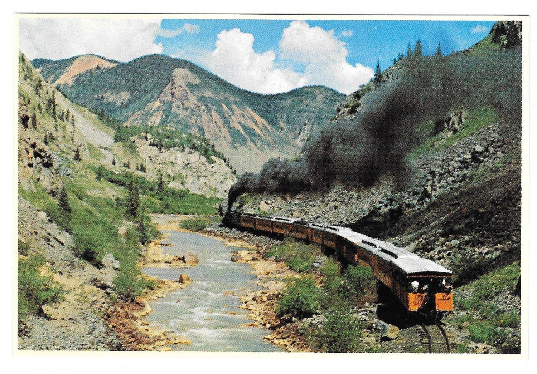 Colorado Narrow Gauge RR Train Las Animas River Canyon Petley Railroad Postcard 4X6