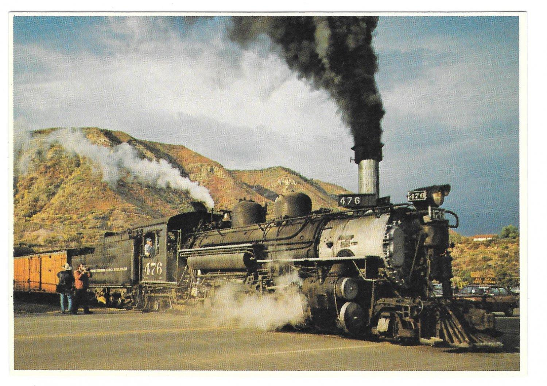 Durango Silverton Narrow Gauge Train Steam Engine Petley Railroad Postcard 4X6