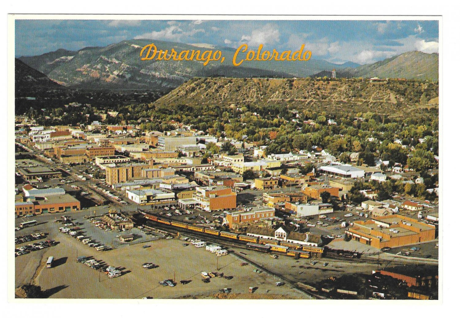 Durango Colorado Aerial View Silverton Narrow Gauge Train Petley 4X6 Postcard