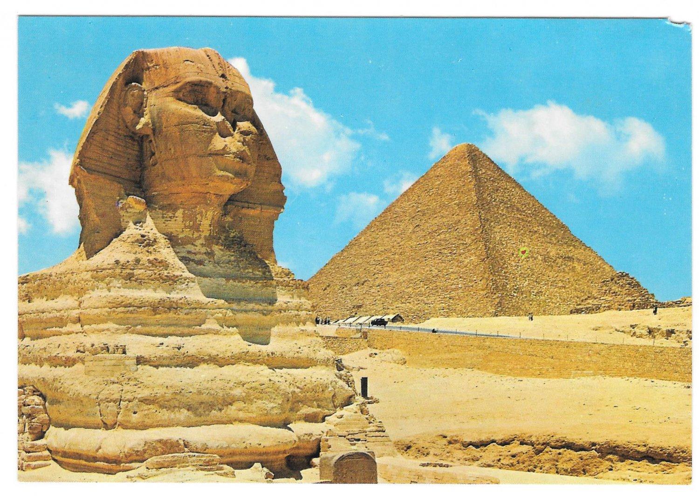 Giza Egypt Great Sphinx Kheops Pyramids Lehnert & Landrock Postcard 4X6