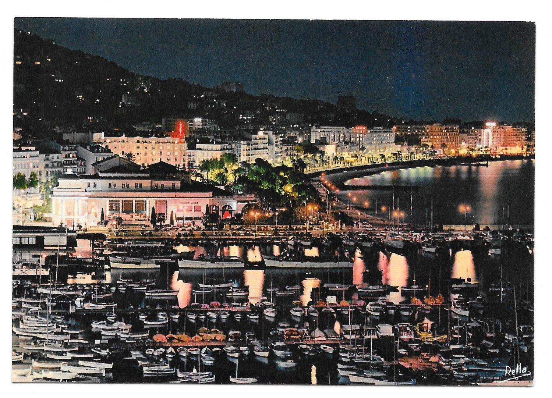 France Cannes Cote d Azur Port Casino Aerial View Night 4X6 Postcard