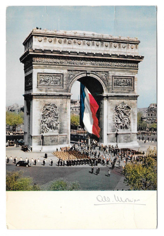 France Paris Arc de Triomphe French Flag Albert Monier 1965 Postcard 4X6